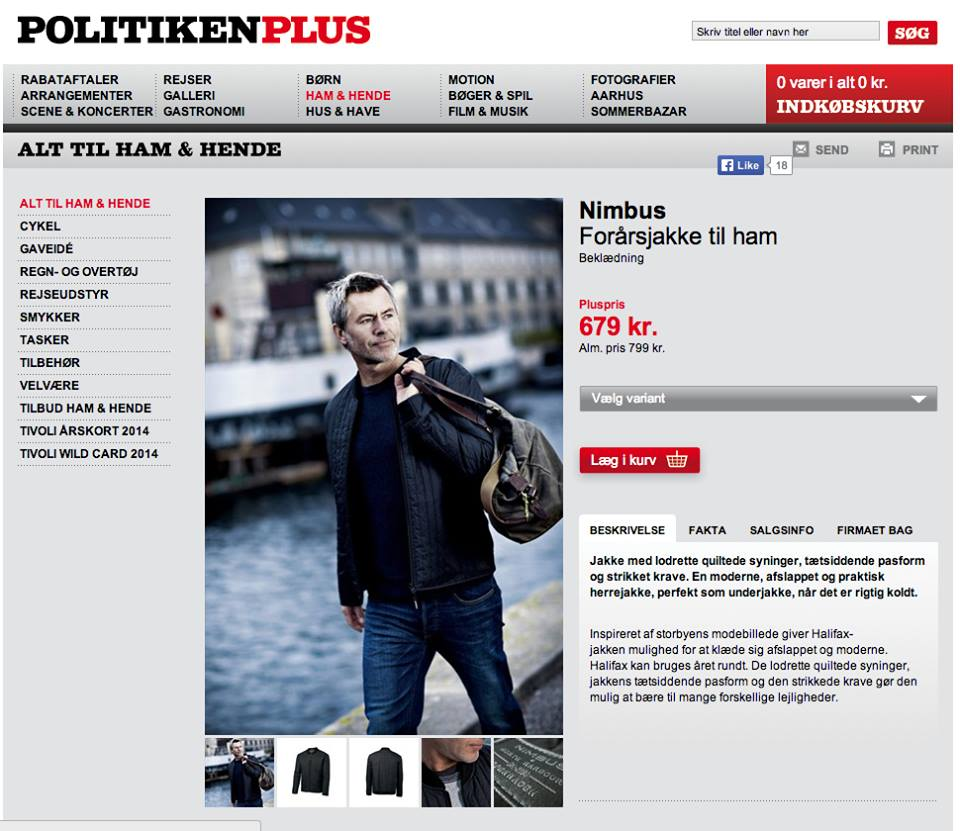 Nimbus Jakke, model foto politikken plus